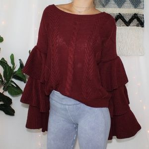 Elan Red Tiered Ruffle Sleeve Red Knit Sweater